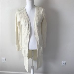 Ambiance Long Duster Cardigan Size S cream Knit